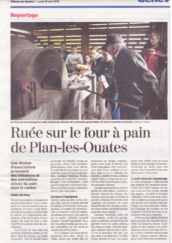 Article TRIBUNE DE GENEVE 18 Avril 2016